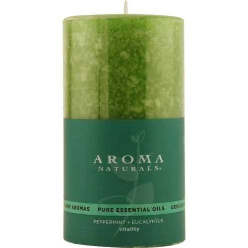 VITALITY AROMATHERAPY by Vitality Aromatherapy ONE 2.75 X 5 inch PILLAR AROMATHERAPY CANDLE. USES THE ESSENTIAL OILS OF PEPPERMINT & EUCALYPTUS TO CREATE A FRAGRANCE THAT IS STIMULATING AND REVITALIZING.  BURNS APPROX. 75 HRS.
