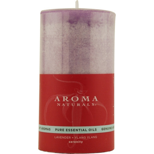 SERENITY AROMATHERAPY by Serenity Aromatherapy ONE 2.75 X 5 inch PILLAR AROMATHERAPY CANDLE.  COMBINES THE ESSENTIAL OILS OF LAVENDER AND YLANG YLANG TO ENHANCE INNER BALANCE AND WELL-BEING.  BURNS APPROX. 75 HRS.