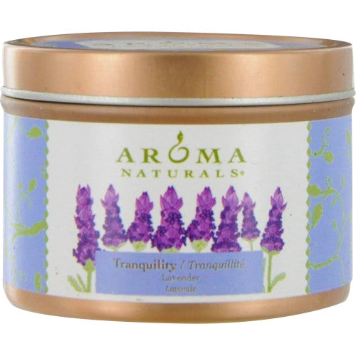 TRANQUILITY AROMATHERAPY by Tranquility Aromatherapy ONE 2.5x1.75 inch TIN SOY  AROMATHERAPY CANDLE.  THE ESSENTIAL OIL OF LAVENDER IS KNOWN FOR ITS CALMING AND HEALING BENEFITS.  BURNS APPROX. 15 HRS.