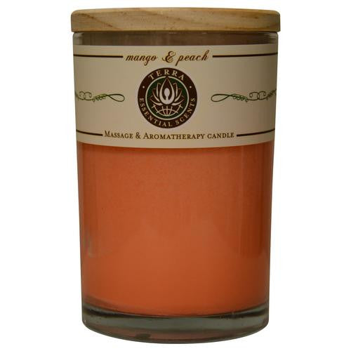 MANGO & PEACH by  MASSAGE & AROMATHERAPY SOY CANDLE 12 OZ TUMBLER. A REFRESHING & UPLIFTING BLEND WITH SUNSTONE GEMSTONE. BURNS APPROX. 30+ HOURS