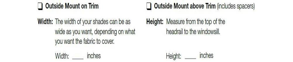 Outside Mount - Measuring instructions