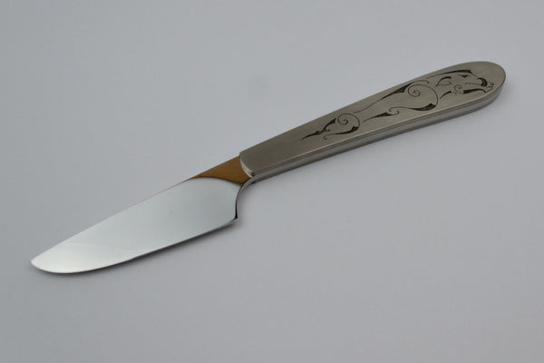 Scalpel style small knife with Boar engraving