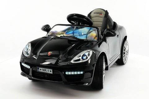 2017 Bokster 12V Electric Kids Ride-On Car MP3  Leather Removable Baby Tray R/C Black Metallic