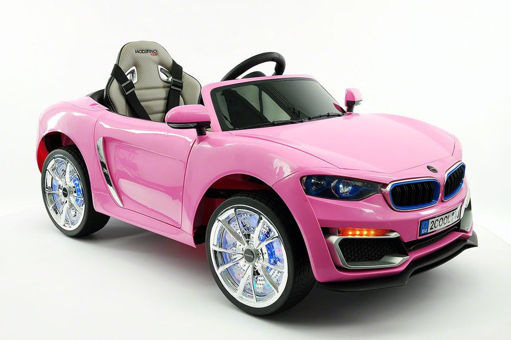 2017 BMW Racer Style Kids Electric Ride-On Car 12V Power Leather Seats Parental Remote | Pink