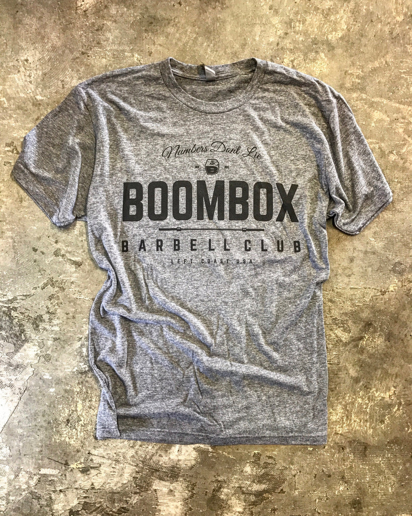 """Numbers Don't Lie"" by Boombox Barbell - Grey (Mens)"