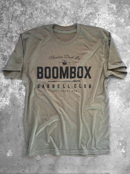 """Numbers Don't Lie"" by Boombox Barbell - Olive (Mens)"
