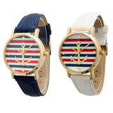 Casual Women's Quartz Watch Multi Color Striped Anchor