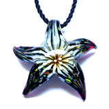 Glass Starfish Pendant Necklace Flower