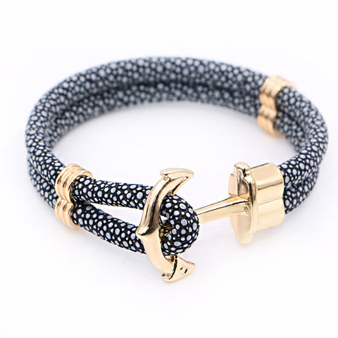 Stingray Leather Anchor Bracelets