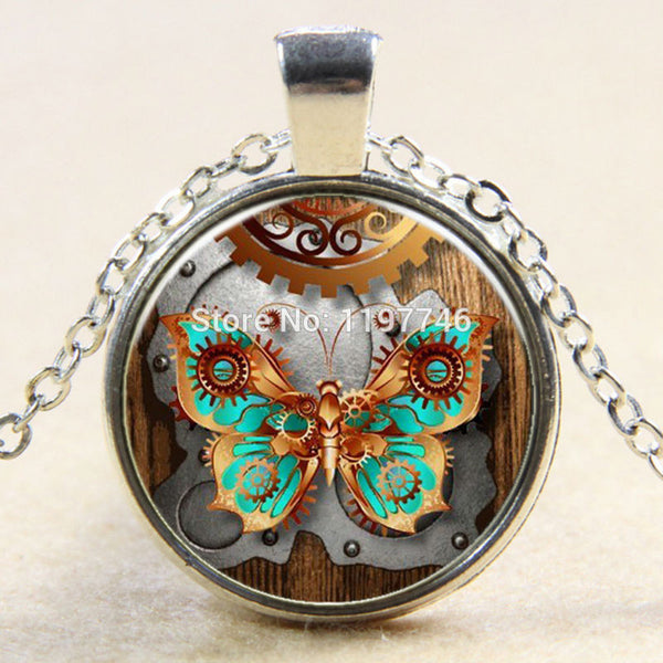 Antique Butterfly Photo 3pcs Glass Cabochon Pendants