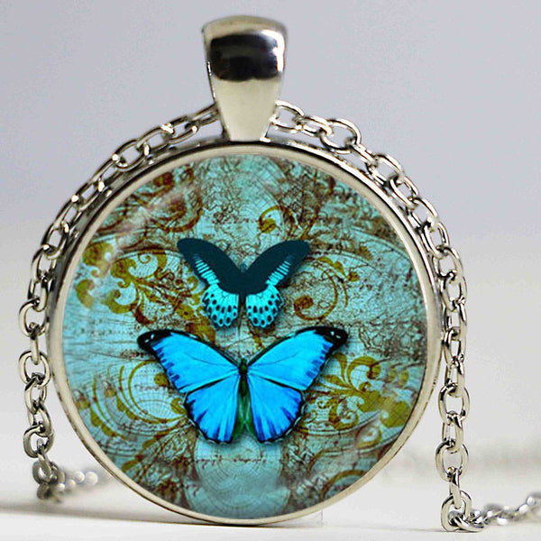 Butterfly Glass Cabochon Handmade Animal Choker
