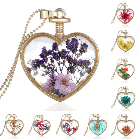 Dry Flower Heart Crystal Glass Pendant Necklace