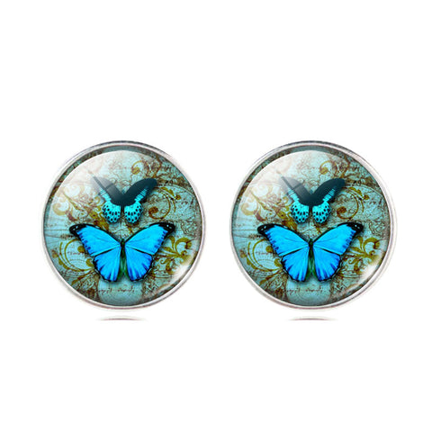 Fashion Jewelry Butterfly Glass Cabochon Silver Stud Earrings