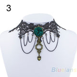 Vintage Handmade Gothic Steampunk Lace Flower Choker Necklace - FREE Offer