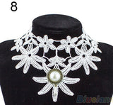 Vintage Handmade Gothic Steampunk Lace Flower Choker Necklace