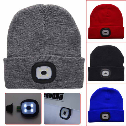 High Quality 4 LED USB Rechargeable Flashlight Knit Hat