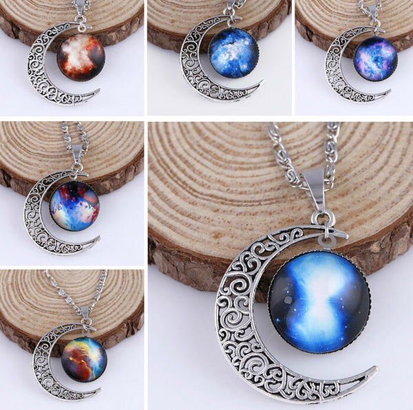 Galaxy Stars Moon Pendant
