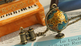 Vintage Miniature Telescope Global Travel Globe Necklace - FREE Offer