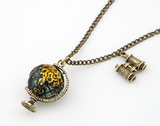 Vintage Miniature Telescope Global Travel Globe Necklace