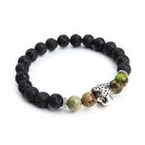 Tibetan Buddha Leopard Head Natural Black Lava Stone Bracelets - FREE Offer