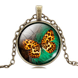 Vintage Bronze Chain Butterfly Pendant
