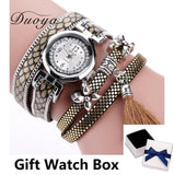 Fashion Round Dial Quartz Flower Multi-Layer Wristwatch