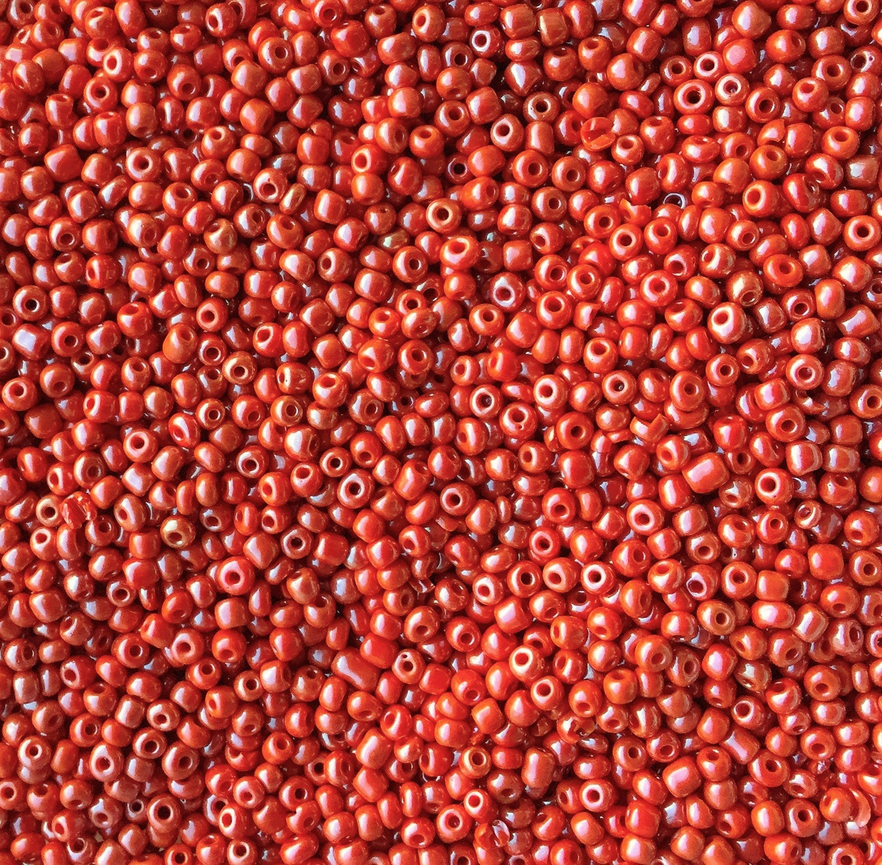 Crimson Glass Seed Beads Opaque, Lustered