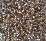 Golden Rod Glass Seed Beads Transparent Lined