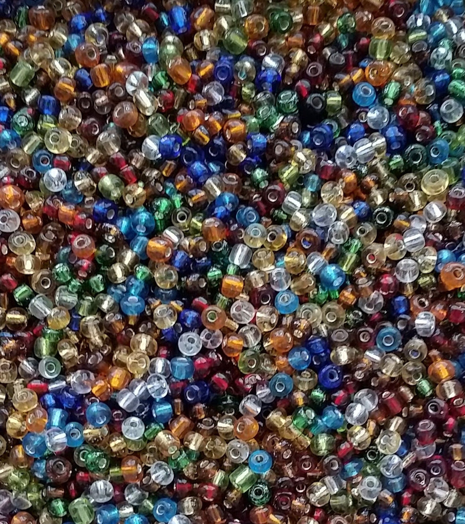 Mixed Glass Seed Beads Transparent Lined