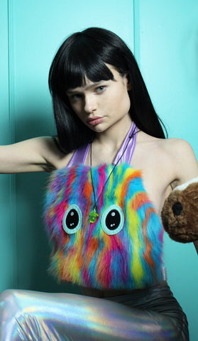 Squeaking Furry Monster Halter Top