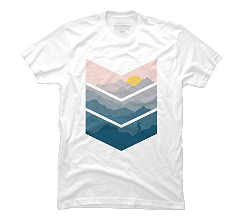 hiking Men's Large White Graphic T Shirt - Design By Humans - UGR Collection