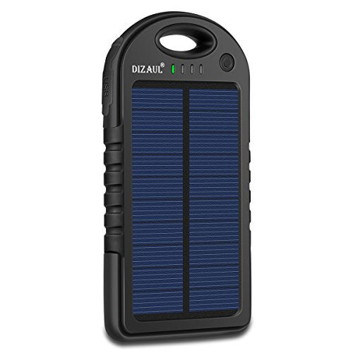 Solar Charger,Dizaul 5000mAh Portable Solar Power Bank Waterproof - UGR Collection