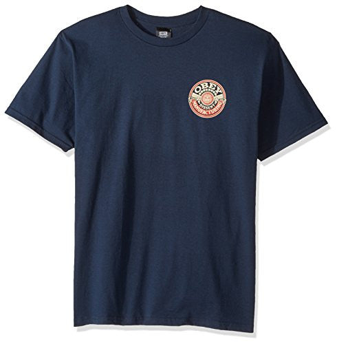 OBEY Dissent Wreath Basic Crew Neck Tee, Navy, X-Large