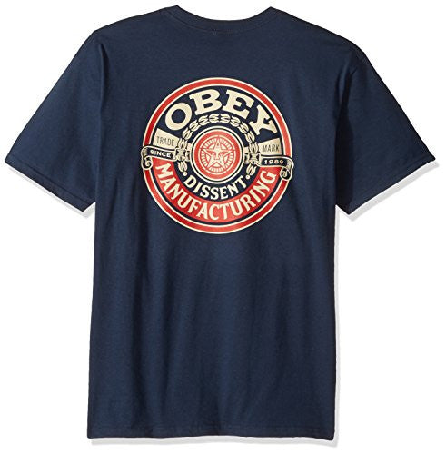 OBEY Dissent Wreath Basic Crew Neck Tee, Navy, X-Large - UGR Collection