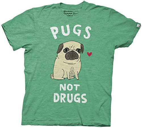 Pugs Not Drugs Mens Kelly Heather T-shirt