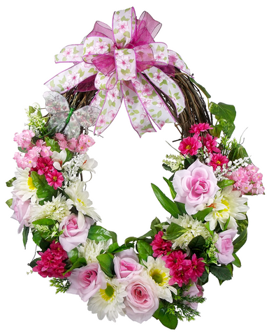 Spring Rose Grapevine Wreath