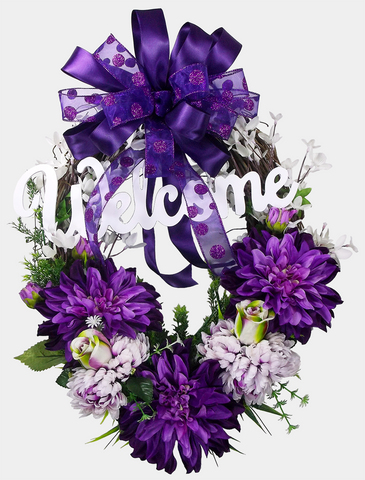 Dahlia Welcome Grapevine Wreath