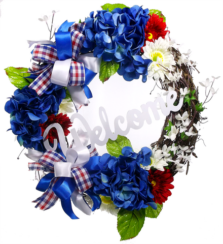 Patriotic Welcome Grapevine Wreath