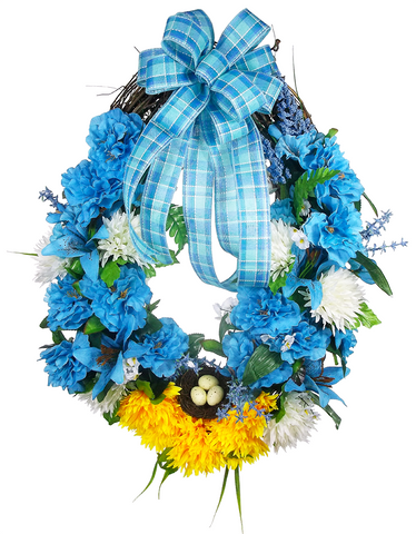 Blue Mother's Day Grapevine Wreath