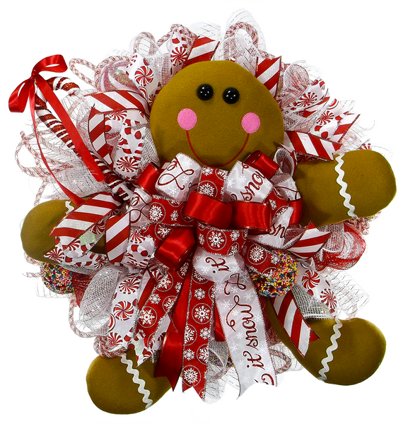 Gingerbread Man Candy Christmas Wreath