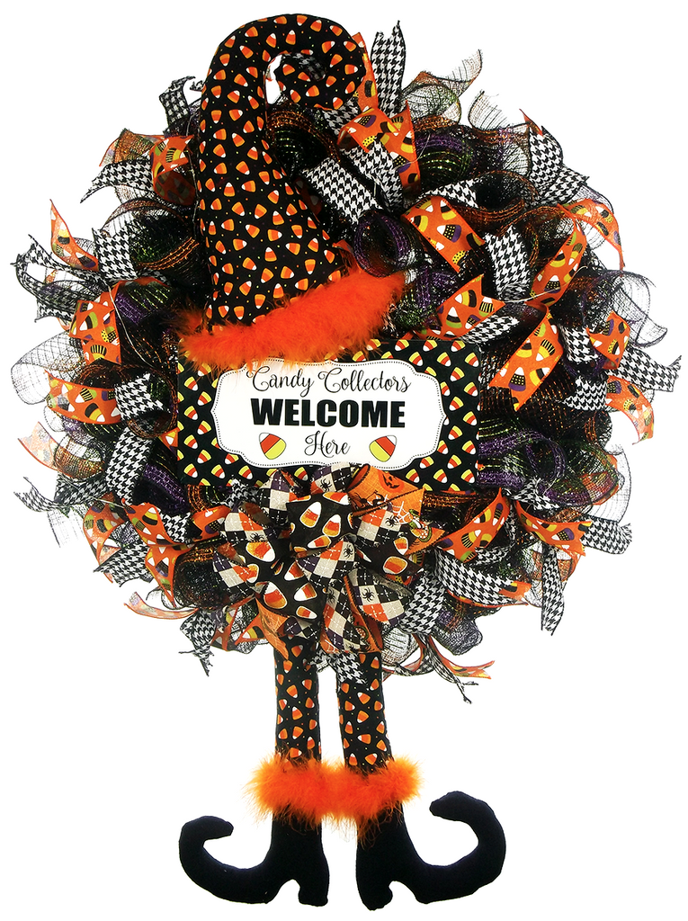 Candy Corn Halloween Witch Wreath On The Wall Charm