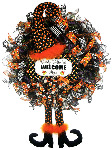 Candy Corn Halloween Witch Wreath