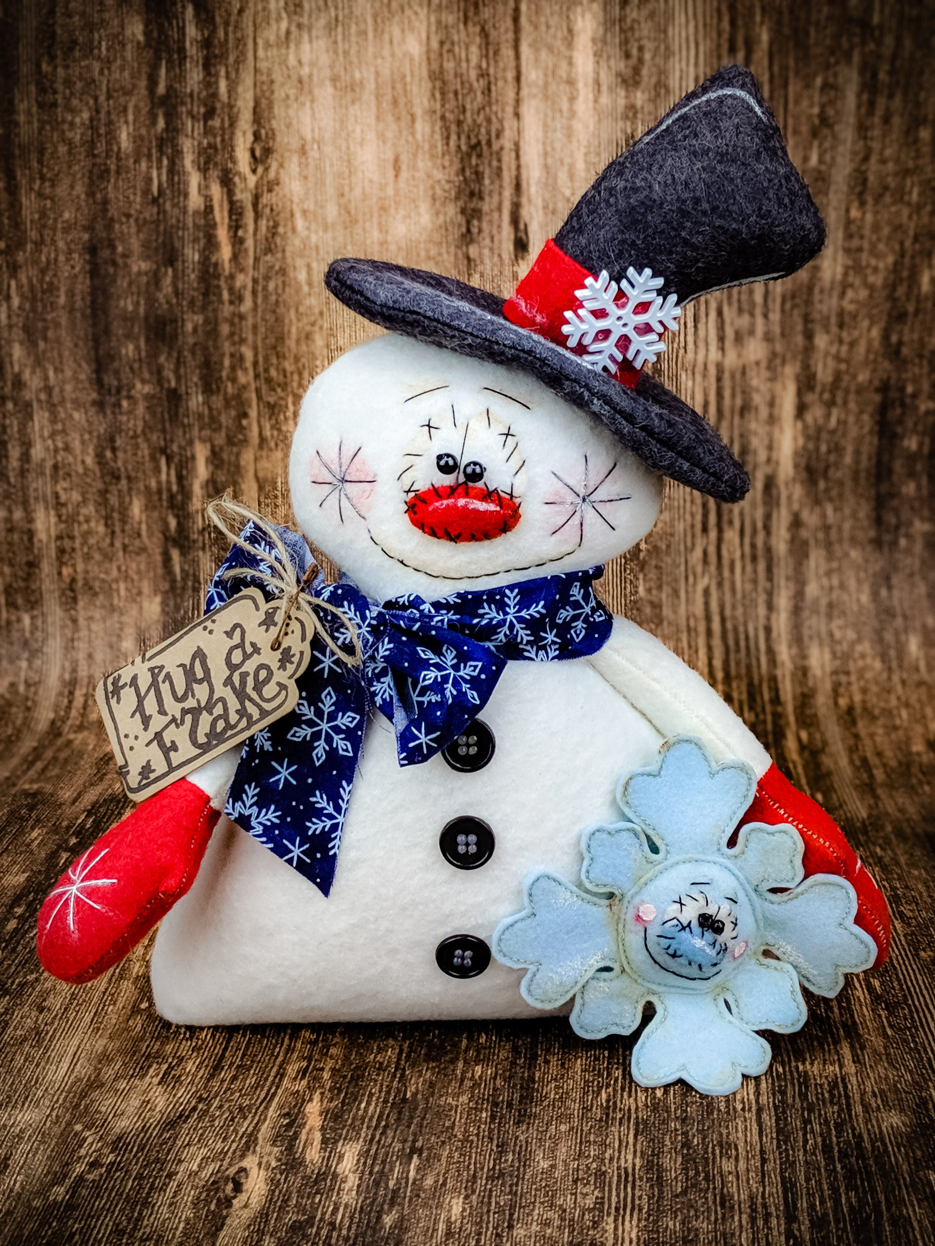 Winter Snowman Snowflake Primitive On The Wall Charm