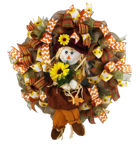 Autumn Scarecrow Girl Wreath
