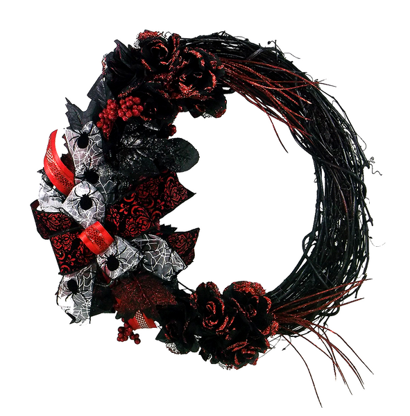 Halloween Black and Red Spider Grapevine Wreath