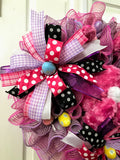 Pink Easter Bunny Wreath