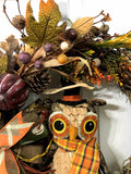 Fall Owl Grapevine Wreath