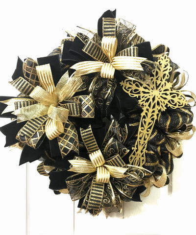 Black and Gold Cross Wreath