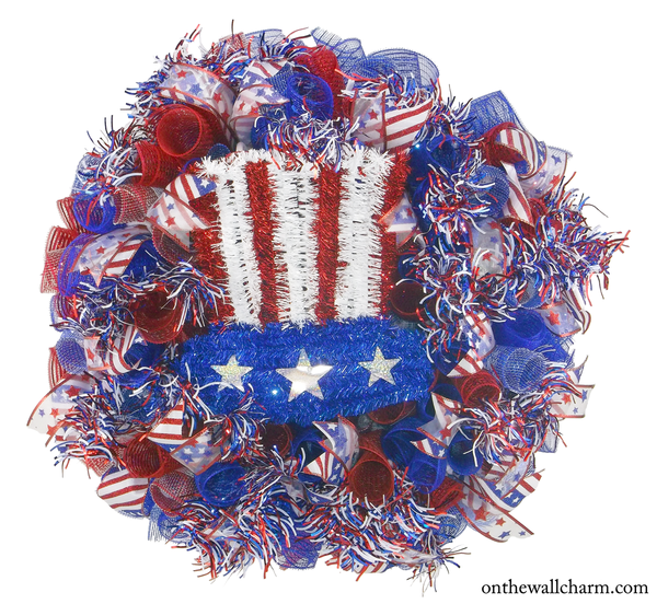 Fourth of July Wreath - Uncle Sam - On the Wall Charm
