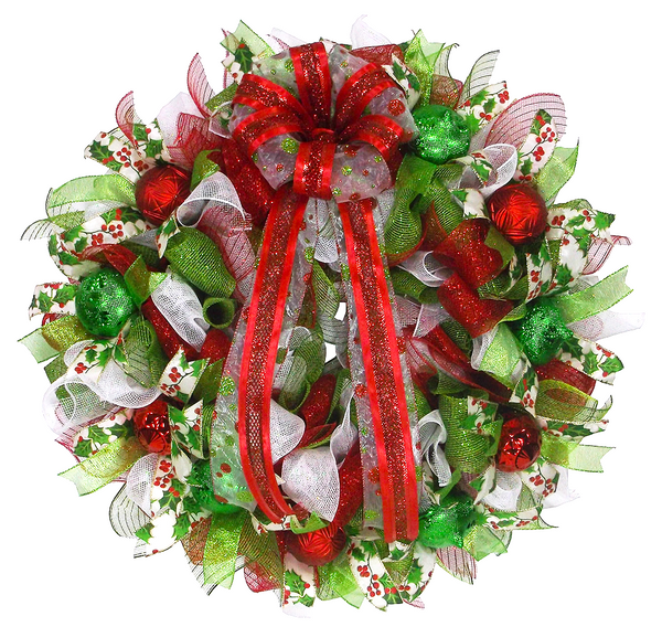 Traditional Red and Green Christmas Wreath
